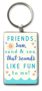 Friends, Sun, Sand & Sea Metallic Keyring