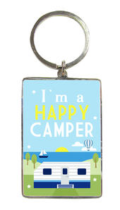 I'm A Happy Camper Metallic Keyring