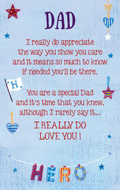 Dad Hero Heartwarmers Keepsake Credit Card & Envelope