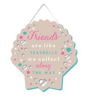 Friends Are Like Seashells Hanging Plaque With Ribbon