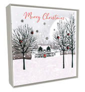Box of 5 House & Trees Hand-Finished Christmas Cards