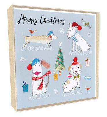 Box of 5 Dogs Wearing Santa Hats Hand-Finished Christmas Cards