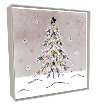 Box of 5 Decorated Tree Hand-Finished Christmas Cards