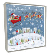 Box of 5 Santa Flying Hand-Finished Christmas Cards