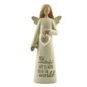 How Wonderful Life With You Feather & Grace Angel Figurine Guardian Angel Gift