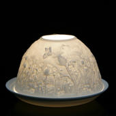 Nordic Lights Stencil Thistles Bone Porcelain Candle Shade