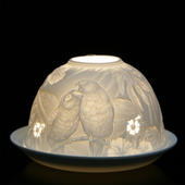 Nordic Lights Stencil Parrots Bone Porcelain Candle Shade