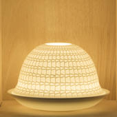 Nordic Lights Crystal Pattern Bone Porcelain Candle Shade