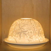 Nordic Lights Stencil Birds Bone Porcelain Candle Shade