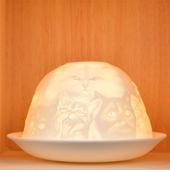 Nordic Lights Stencil Cats Bone Porcelain Candle Shade