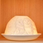 Nordic Lights Stencil Owls Bone Porcelain Candle Shade
