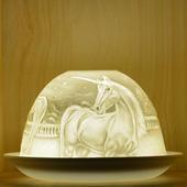 Nordic Lights Stencil Unicorn Bone Porcelain Candle Shade