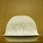 Nordic Lights Stencil Flowers Bone Porcelain Candle Shade