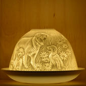 Nordic Lights Stencil Puppies Bone Porcelain Candle Shade
