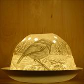 Nordic Lights Stencil Robin Bone Porcelain Candle Shade