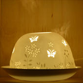 Nordic Lights Butterflies Bone Porcelain Candle Shade