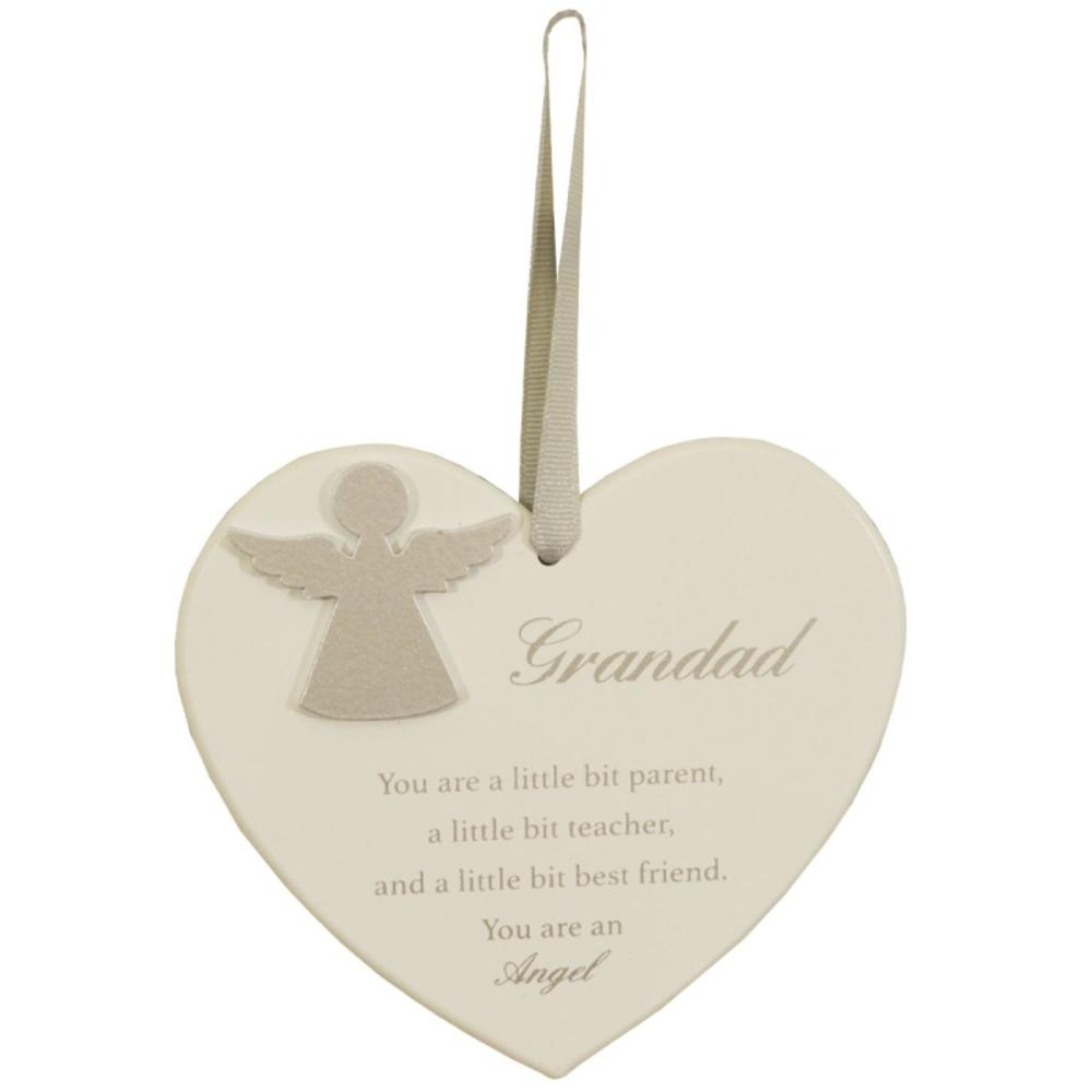 Grandad Hanging Wooden Heart Shaped Guardian Angel Plaque With Ribbon