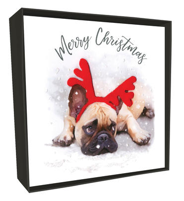 Box of 6 Pug In Antlers Luxury Hand-Finished Christmas Cards