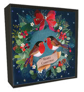 Box of 6 Festive Robins Luxury Hand-Finished Christmas Cards