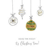 Individual Festive Bauble Christmas Card Hand-Finished