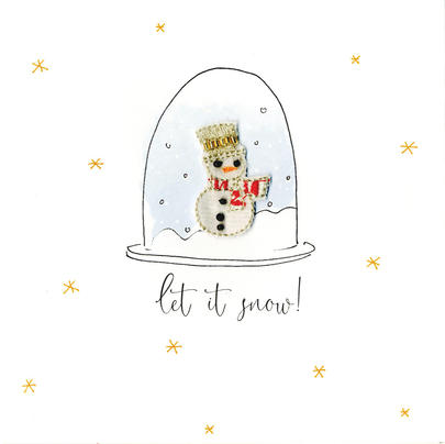 Individual Festive Snowman Christmas Card Hand-Finished