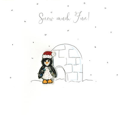 Individual Festive Penguin Christmas Card Hand-Finished