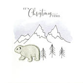 Individual Festive Polar Bear Christmas Card Hand-Finished