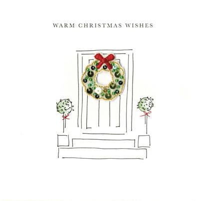 Individual Festive Wreath Christmas Card Hand-Finished
