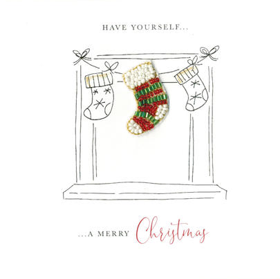Individual Festive Stocking Christmas Card Hand-Finished