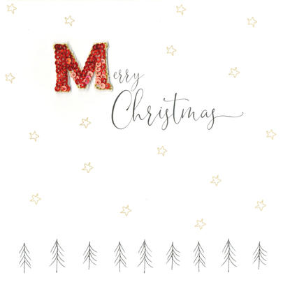 Individual Festive Merry Christmas Card Hand-Finished
