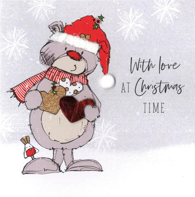 Scribble Bear Individual With Love At Christmas Card