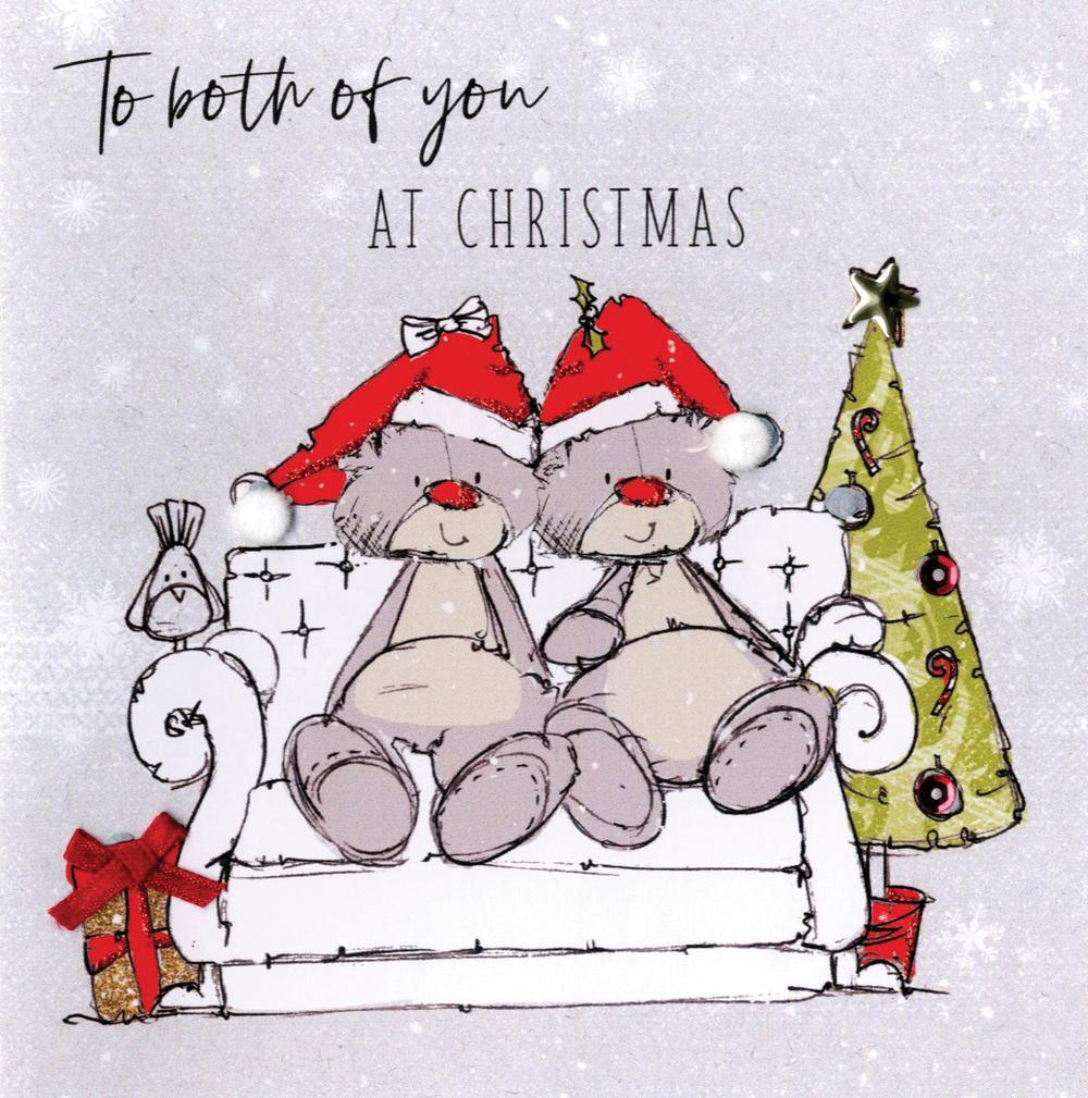 Scribble Bear To Both Of You Christmas Card