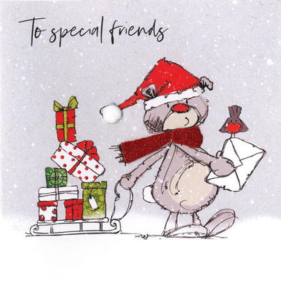 Scribble Bear To Special Friends Christmas Card