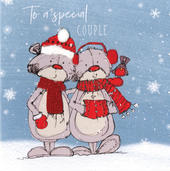 Scribble Bear To A Special Couple Christmas Card