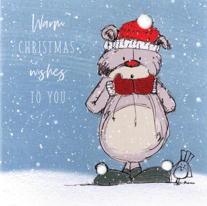 Scribble Bear Individual Warm Wishes Christmas Card