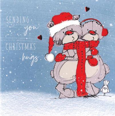 Scribble Bear Individual Sending Hugs Christmas Card