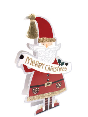 Santa 3D Paper Dazzle Christmas Greeting Card