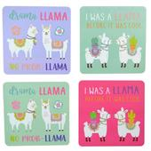 Set Of 4 Square Llama Mug Coasters Novelty Gift