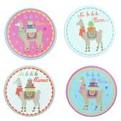 Set Of 4 Round Llama Mug Coasters Novelty Gift