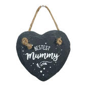 Bestest Mummy Mini Heart Shaped Hanging Slate Plaque