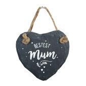 Bestest Mum Mini Heart Shaped Hanging Slate Plaque