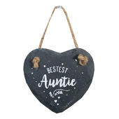 Bestest Auntie Mini Heart Shaped Hanging Slate Plaque