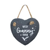 Bestest Granny Mini Heart Shaped Hanging Slate Plaque