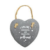 Amazing Girlfriend Mini Heart Shaped Hanging Slate Plaque