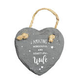 Amazing Wife Mini Heart Shaped Hanging Slate Plaque