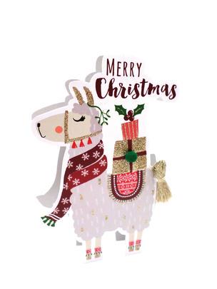 Llama 3D Paper Dazzle Christmas Greeting Card