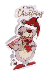 Christmas Bear 3D Paper Dazzle Christmas Greeting Card
