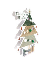Christmas Tree 3D Paper Dazzle Christmas Greeting Card