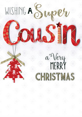 Cousin Embellished Hand-Finished Christmas Card