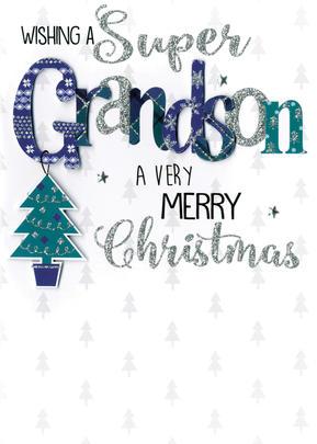 Grandson Embellished Hand-Finished Christmas Card